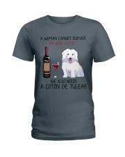 Wine and Coton de Tulear 2 Ladies T-Shirt thumbnail