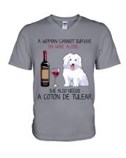Wine and Coton de Tulear 2 V-Neck T-Shirt thumbnail