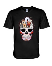 Half Skull Dogs V-Neck T-Shirt tile
