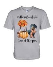 The Most Wonderful Time - Dachshund 2 V-Neck T-Shirt thumbnail