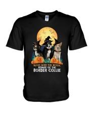 Howloween Border Collie 2 V-Neck T-Shirt thumbnail