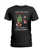 Christmas Wine and Cane Corso Ladies T-Shirt thumbnail
