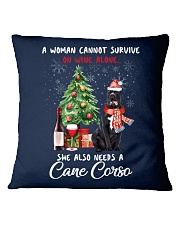 Christmas Wine and Cane Corso Square Pillowcase front