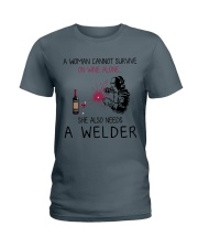 Wine and A Welder 2 Ladies T-Shirt thumbnail