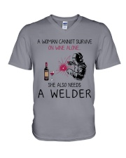 Wine and A Welder 2 V-Neck T-Shirt thumbnail