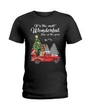 Wonderful Christmas with Truck - Yorkie Ladies T-Shirt thumbnail