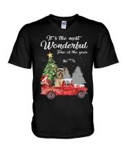 Wonderful Christmas with Truck - Yorkie V-Neck T-Shirt thumbnail