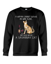 Wine and Savannah Cat Crewneck Sweatshirt thumbnail