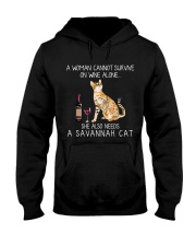 Wine and Savannah Cat Hooded Sweatshirt thumbnail
