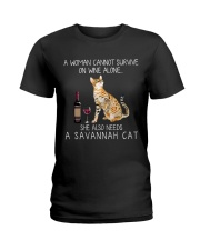 Wine and Savannah Cat Ladies T-Shirt thumbnail