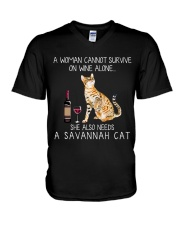 Wine and Savannah Cat V-Neck T-Shirt thumbnail