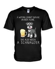 Beer and Schnauzer V-Neck T-Shirt thumbnail