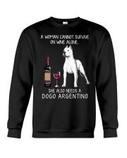 Wine and Dogo Argentino Crewneck Sweatshirt thumbnail