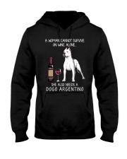 Wine and Dogo Argentino Hooded Sweatshirt thumbnail