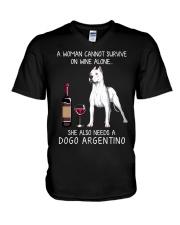 Wine and Dogo Argentino V-Neck T-Shirt thumbnail