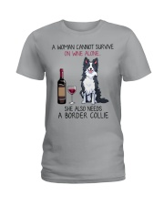 Wine and Border Collie 2 Ladies T-Shirt thumbnail