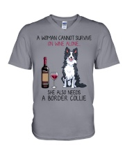 Wine and Border Collie 2 V-Neck T-Shirt thumbnail