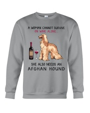 Wine and Afghan Hound 2 Crewneck Sweatshirt thumbnail
