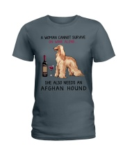 Wine and Afghan Hound 2 Ladies T-Shirt thumbnail
