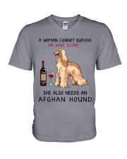 Wine and Afghan Hound 2 V-Neck T-Shirt thumbnail
