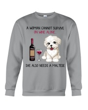 Wine and Maltese 2 Crewneck Sweatshirt thumbnail
