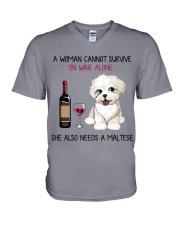 Wine and Maltese 2 V-Neck T-Shirt thumbnail
