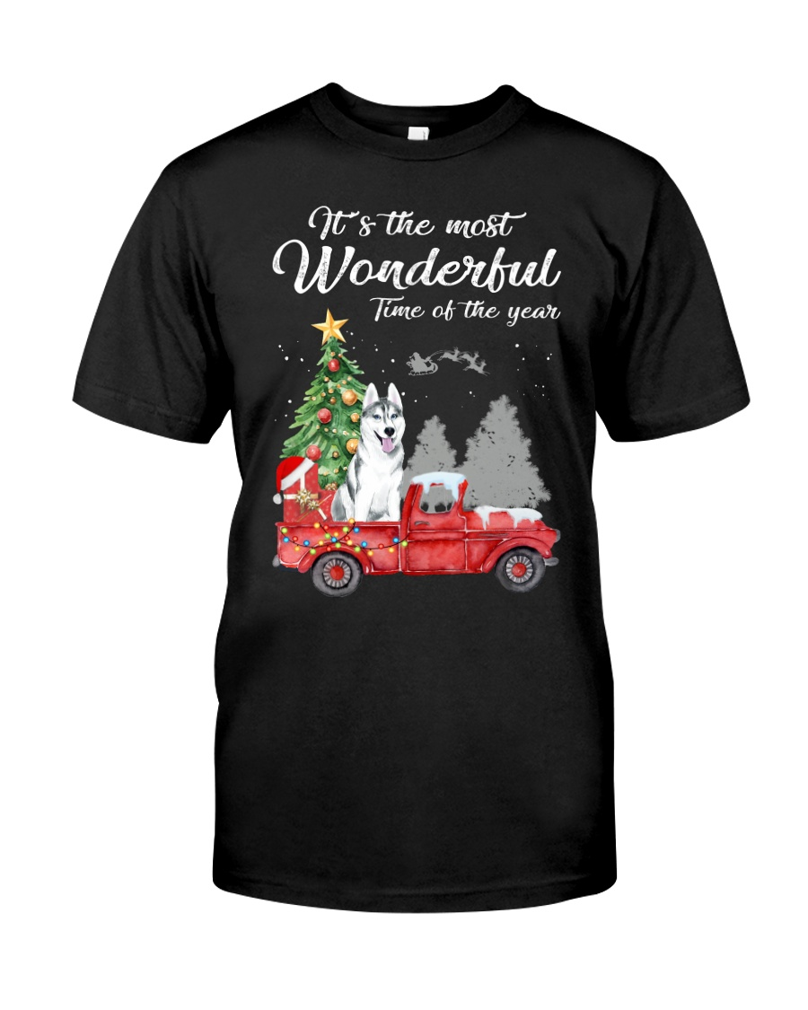 Wonderful Christmas with Truck - Husky Classic T-Shirt