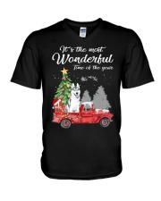Wonderful Christmas with Truck - Husky V-Neck T-Shirt thumbnail
