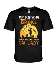 My Broom Broke So Now I Become A Crazy Cat Lady V-Neck T-Shirt thumbnail