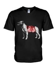 Flower and Staffordshire Bull Terrier V-Neck T-Shirt thumbnail