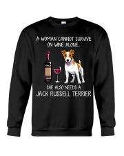 Wine and Jack Russell Crewneck Sweatshirt thumbnail
