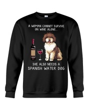 Wine and Spanish Water Dog Crewneck Sweatshirt thumbnail