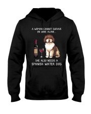 Wine and Spanish Water Dog Hooded Sweatshirt thumbnail