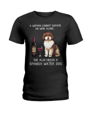 Wine and Spanish Water Dog Ladies T-Shirt tile