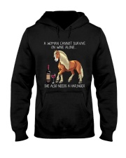 Wine and Haflinger Hooded Sweatshirt thumbnail