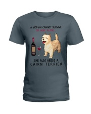 Wine and Cairn Terrier 2 Ladies T-Shirt thumbnail