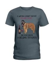 Wine and Belgian Tervuren 2 Ladies T-Shirt thumbnail