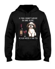 Wine and Shih Tzu - Man version  Hooded Sweatshirt thumbnail