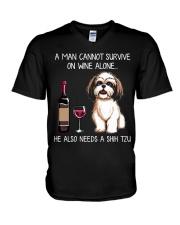 Wine and Shih Tzu - Man version  V-Neck T-Shirt thumbnail
