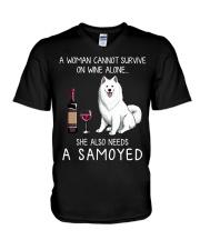 Wine and Samoyed V-Neck T-Shirt thumbnail