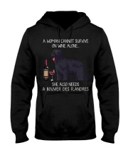 Wine and Bouvier Des Flandres Hooded Sweatshirt thumbnail