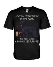 Wine and Bouvier Des Flandres V-Neck T-Shirt thumbnail