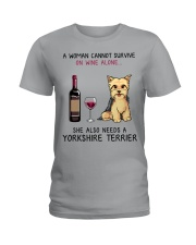 Wine and Yorkie 2 Ladies T-Shirt tile