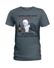 Wine and Old English Sheepdog 2 Ladies T-Shirt tile