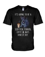 Scottish Terrier Coffee and Naps V-Neck T-Shirt thumbnail