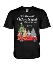 Wonderful Christmas with Truck - German Shepherd V-Neck T-Shirt thumbnail
