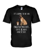 English Mastiff Coffee and Naps V-Neck T-Shirt thumbnail