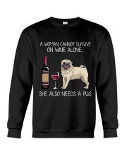 Wine and Pug 3 Crewneck Sweatshirt thumbnail