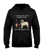Wine and Pug 3 Hooded Sweatshirt thumbnail