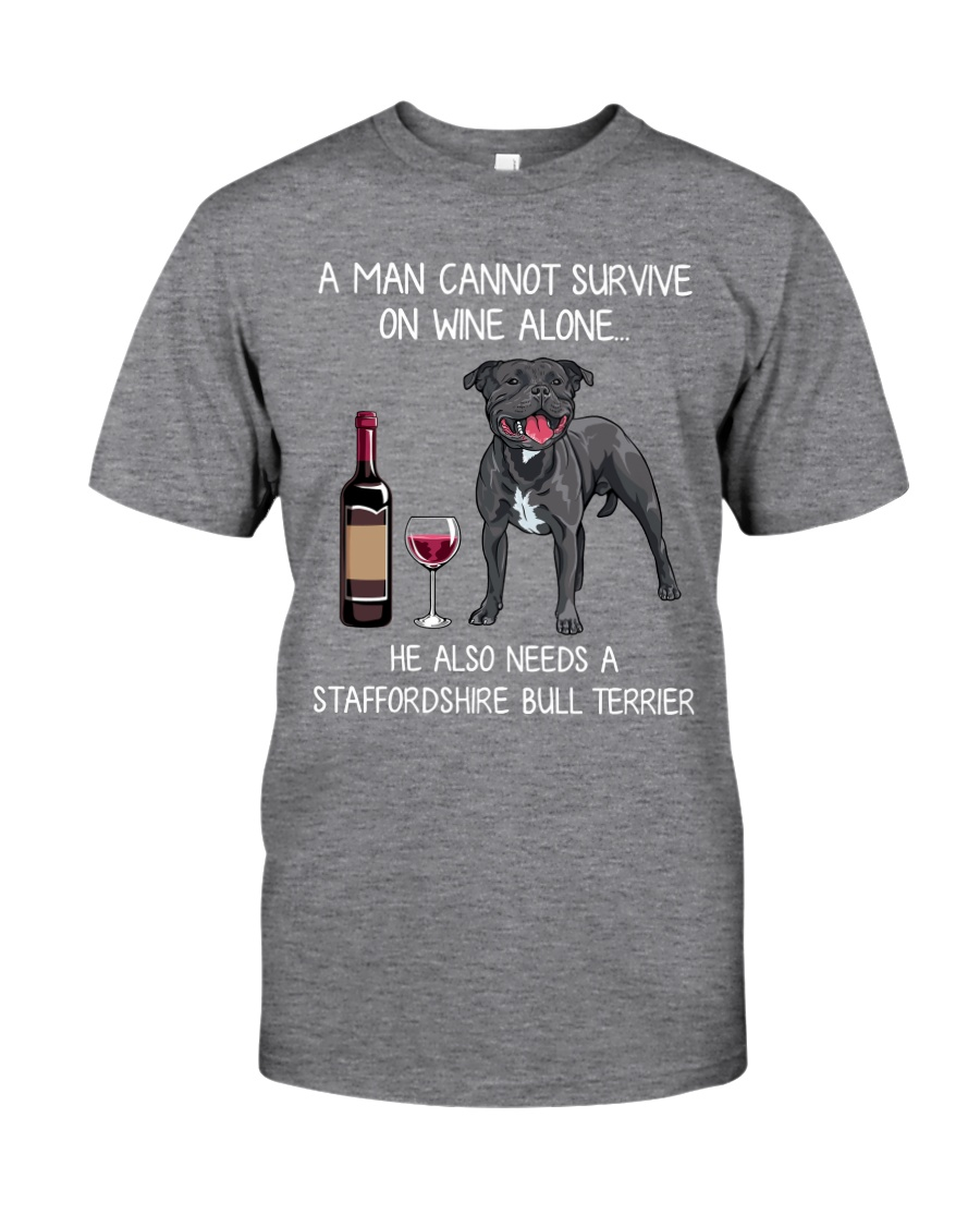 Wine and Staffordshire Bull Terrier - Man version Classic T-Shirt